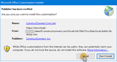 ConstructConnect Live Link installation prompt