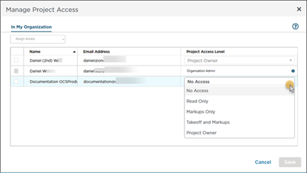 ConstructConnect Takeoff Manage Access dialog box