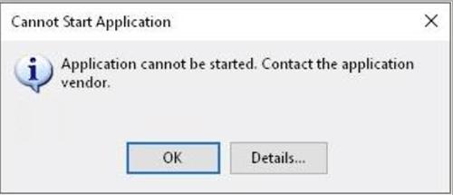 Windows Cannot Start Application error message