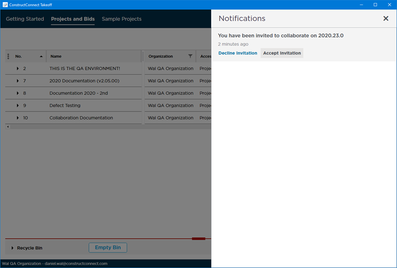 CCTO Notification Panel - pending invitations