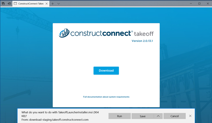 ConstructConnect Takeoff download page