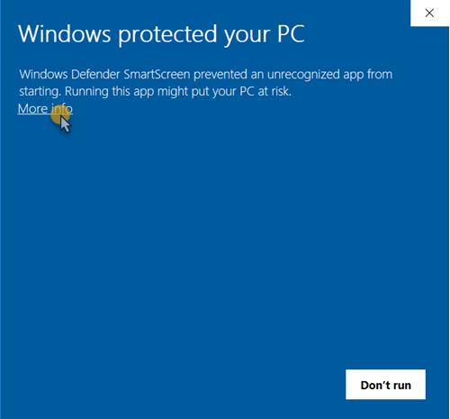 Windwos SmartScreen blocked installation message